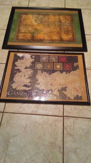 Framed Puzzles from The Hobbit and Game of Thrones $45 for Sale in San Antonio, TX
