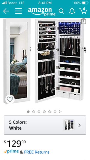 Wall door mounted jewelry armory organizer with mirror for Sale in Rancho Cucamonga, CA