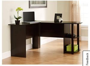 L Desk with Bookshelves, espresso (in box) 1 left $89.00 Has a small chip on part A Desk fits perfectly in a corner, but provides plenty of space fo for Sale in Houston, TX