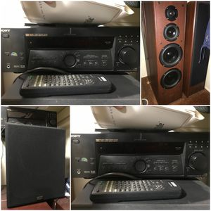 Home theater Audio Speakers with Subwoofer and Sony Reciever for Sale in Milpitas, CA