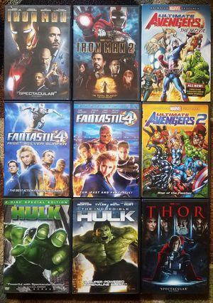 9 Marvel DVD Lot Animated Avengers Iron Man Thor Hulk Fantastic 4 Family Movie for Sale in Tampa, FL