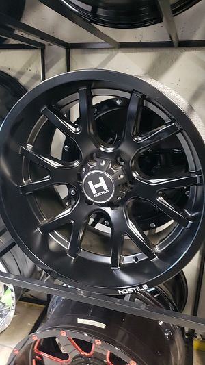 20x10 black hostile offroad rims 6 lug 6x139 6x5.5 on new tires 33 1250 20 lt for Sale in Phoenix, AZ