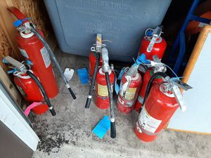 Large fire extinguishers fully charged $15 small fire extinguishers $10 for Sale in Newark, OH