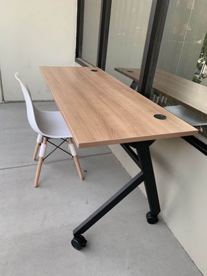 NEW 2 PC Combo HON Flip Base Wheat or White Color Laminate Top Office Computer Desk Conference Table 60x24x30 inches Tall and DSW Mid Century Style L for Sale in Whittier, CA