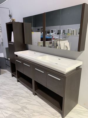 "63"" Modern Double Sink Bathroom Vanity with Medicine Cabinet Mirrors (Side Cabinet Optional) for Sale in Annandale, VA"