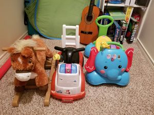 Rocking horse for $30; Paw Patrol fire truck for $10; Fisher-Price 3 in 1 bounce, stride, and ride elephant for $25 for Sale in Lubbock, TX