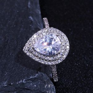 Pear Cut Created Double Halo Diamond Promise Ring 925 Sterling Silver Size 6-7-8-9 for Sale in Phoenix, AZ