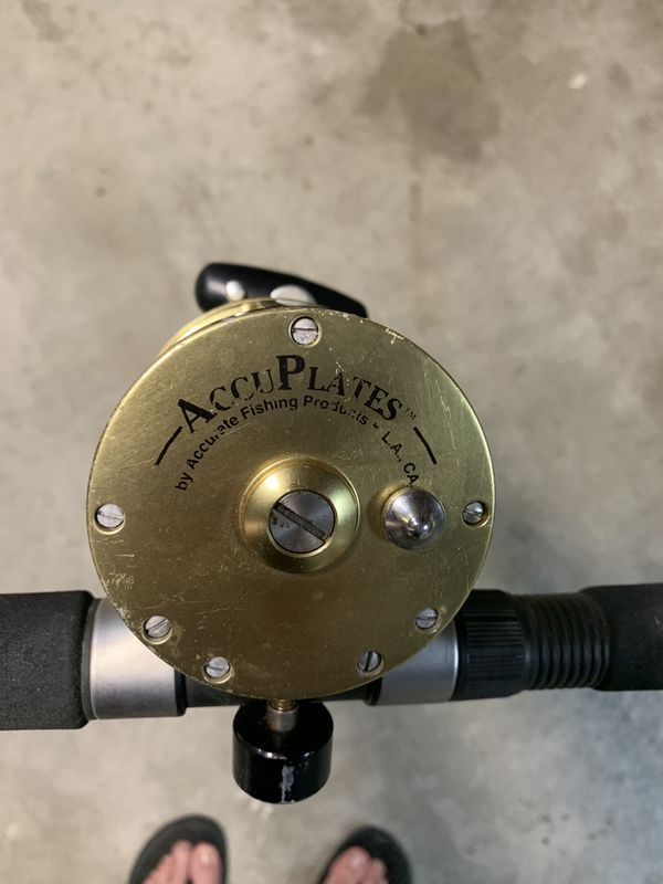 Saltwater fishing rod and reel.