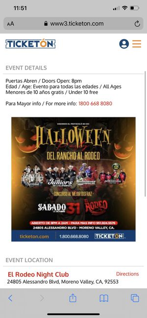 October 31 grupo tickets for Sale in Corona, CA