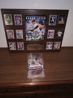 Collectable Derek Jeter mint condition valuable baseball cards&Thurman Munson collector level silver toy. for Sale in Cincinnati, OH