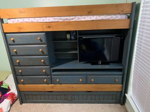 Bunk bed w/ Trundle + matching armoire for Sale in San Antonio, TX