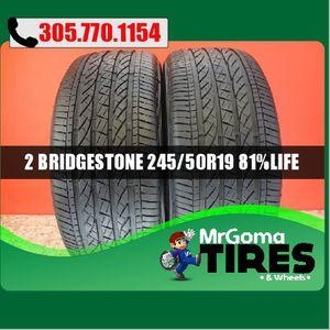 2 BRIDGESTONE DUELER H/P SPORT AS RFT XL 245/50/19 USED TIRES 81.5% LIFE 2455019 for Sale in Miami Gardens, FL