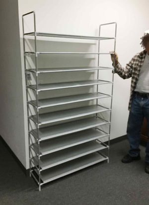New in box 50 pairs 10 tiers 40x12x69 inches tall shoe rack shelf storage organizer NOTE alot of assembly required for Sale in West Covina, CA