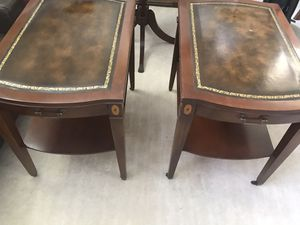 Pair vintage end tables wood and leather for Sale in Marietta, GA
