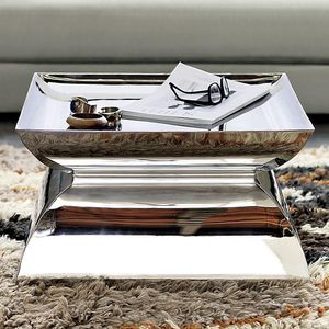 Pedestal/Coffee Table in Polished Steel for Sale in New York, NY