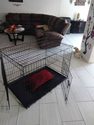 Dog crate Cage kennel foldable X large New never used only few scratches pick up only 91ave and Thomas Phoenix for Sale in Phoenix, AZ