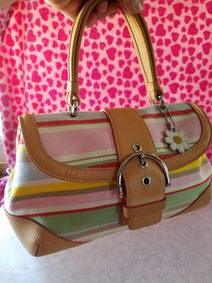 Pastel, Stripe, And Tan Coach Bag/Purse for Sale in US