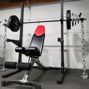 COMPLETE HOME GYM: OLYMPIC SQUAT RACK + ADJUSTABLE BENCH + OLYMPIC WEIGHT SET + BARBELL + EZ CURL BAR for Sale in Perris, CA
