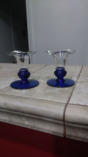 Cobalt blue candle holders/ taper for Sale in Cypress, CA