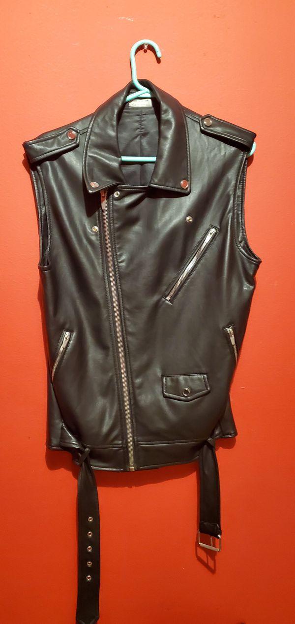 Zara Man Zip Up Motorcycle Vest Mens Leather Sleeveless Biker Jacket