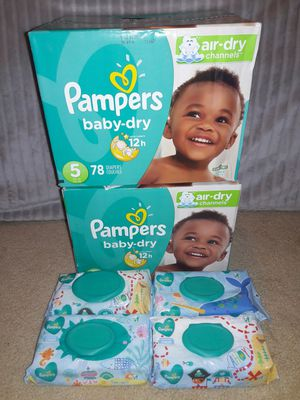 Pampers Baby Dry Diapers Size 5 Bundle: 156 diapers & 288 Pampers Baby Wipes (Selling altogether only) for Sale in Dallas, TX