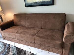 Soft brown fold out couch for Sale in Delray Beach, FL