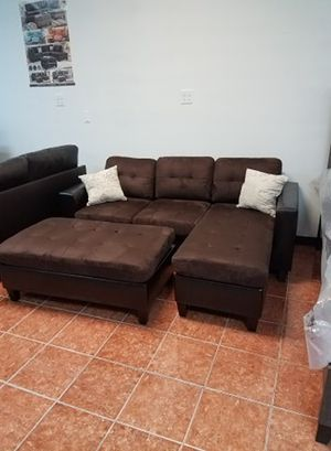 [SHOWROOM SALE] Sectional w/ Ottoman in Fabric [Includes 2 Accent Pillows] [Only $50 Down] [90 Days to Pay Same as Cash] for Sale in Irving, TX