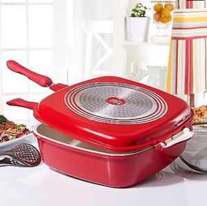 812 Cook's Companion Ceramic 5 qt Flip Pan w/ Basting Lid - Red - Pan Pot Multiple Use for Sale in Houston, TX