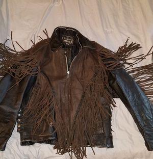 Vintage Brown Leather Limited Western/Cowboy/Native American Fringe Biker Jacket   Size M for Sale in Middletown, OH