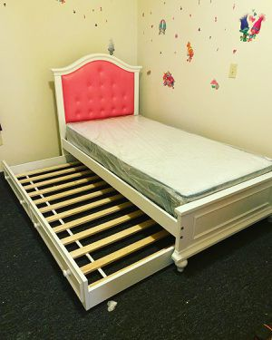 Brand new twin size over twin size trundle bed frame pink color > 🚚🚚🚚🚚 for Sale in Douglas, MA