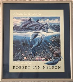 Hawaiian Dolphin Ocean professionally framed and matted print from Hawaii for Sale in Gilbert, AZ