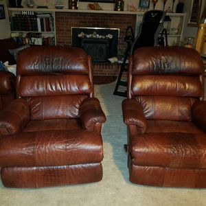 2 Lazy Boy Leather Rocking Swivel Recliners for Sale in Columbine Valley, CO