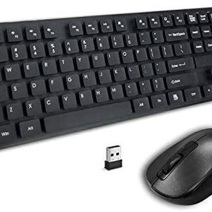 Wireless Keyboard Mouse Combo, 2.4GHz Slim Full-Sized Wireless Keyboard and Mouse Combo with USB Nano Receiver for Laptop, PC (Black) for Sale in Brooklyn, NY