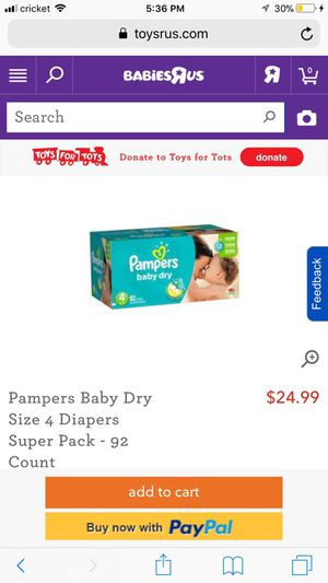 Pamper baby dry size 4-92 count for Sale in Spotswood, NJ