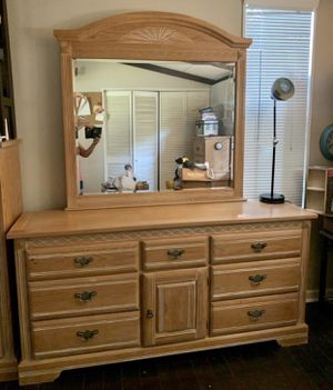Wood Santa Fe Mexican Furniture Hecho En Mexico Big Mirror And Cabinet Triple Low Boy Dresser Chest Great Quality And In Excellent Condition for Sale in Chapel Hill, NC