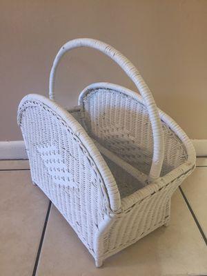 Vintage White wicker magazine rack/ storage basket with divider for Sale in Tampa, FL