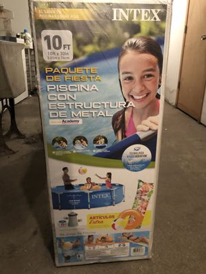 NEW! 10FT INTEX POOL + POOL COVER + DELIVERY AVAILABLE*! Intex Metal Frame Pool Set 10ft x 30inches with Filter and Filter Pump for Sale in Chicago, IL