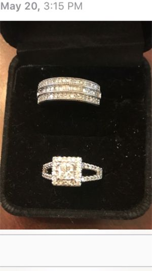 Ladies Diamond Engagement Ring 14K White Gold 1.00 CTW Size 7 Ladies Diamond Wedding Band 14K Round and Baguette White Gold .50 CTW Size 7 $1,300- for Sale in Upper Marlboro, MD