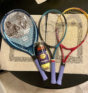 3 Tennis Rackets (w/ new grips & unopened can of Tennis balls) for Sale in Glendale, AZ