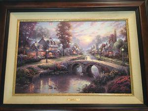 Original Thomas Kinkade Painting: Sunset On Lamplight Lane for Sale in Ceres, CA