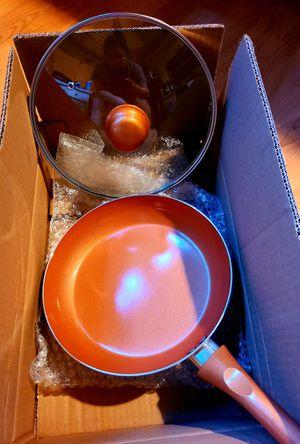 "9.5"" Ceramic Coating Copper Aluminum Pan with Lid for Sale in Arlington, TX"
