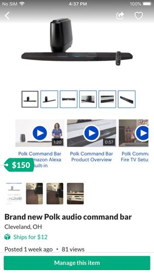 Brand new Polk audio command bar w/ Alexa for Sale in Cleveland, OH