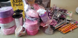 Girl babyshower decorations, balloon weights, ribbons for Sale in Parkland, WA