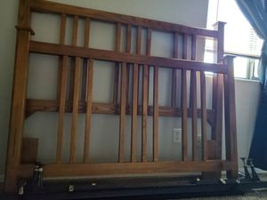 Oak WOOD QUEEN size Bed with frame Free mattress none smoking home moving got to down size for Sale in Queen Creek, AZ