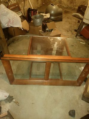 Glass And Wood Tv Stand for Sale in Philadelphia, PA