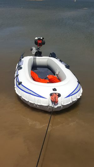 9 foot 3 person R.I.B. Inflatable fishing boat gas outboard engine for Sale in Avondale, AZ