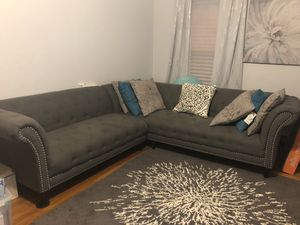 Grey tuffeted sectional couch for Sale in Pawtucket, RI
