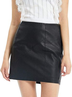 Womens Leather Skirt, Bodycon Faux Mini High Waist Casual Zip PU Slim Pencil (small) for Sale in Falls Church, VA