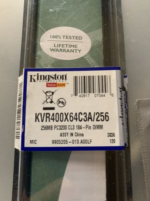 Kingston KVR400X64C3A/256 256MB PC3200 CL3 184-Pin DIMM for Sale in Abilene, TX