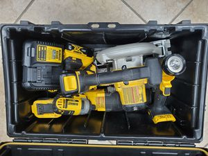 Dewalt 20v 5 piece kit drill, Impact, saw zaw, circular saw, and flashlight . Comes with 2 batteries and charger with hard box case 350$!! for Sale in Fort Worth, TX